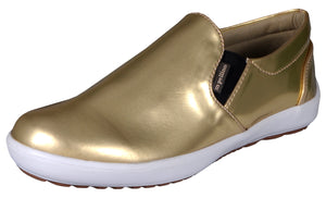 Mario Pellino Womens Comfortable Slip On Fashion Sneakers Gold Loafers Comfort Flats Shoes