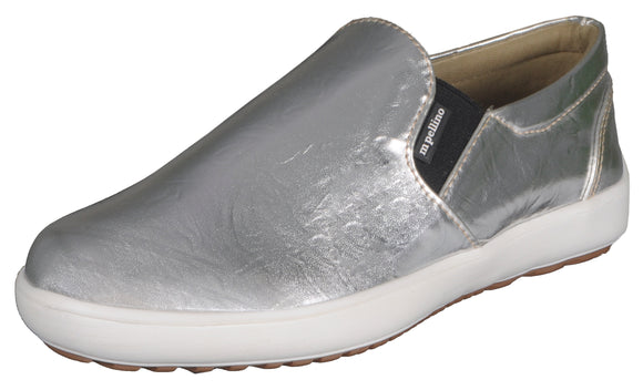 Mario Pellino Womens Comfortable Slip On Fashion Sneakers Silver Loafers Comfort Flats Shoes