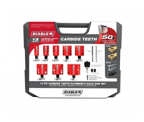 Diablo 13Pc Carbide Plumbers Hole Saw Set