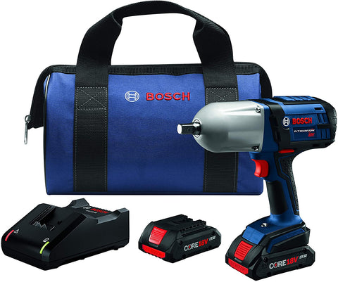 Bosch HTH181-B25 18V High Torque Impact Wrench w/Pin Detent w/ (2) 4.0 Ah CORE Compact Batteries