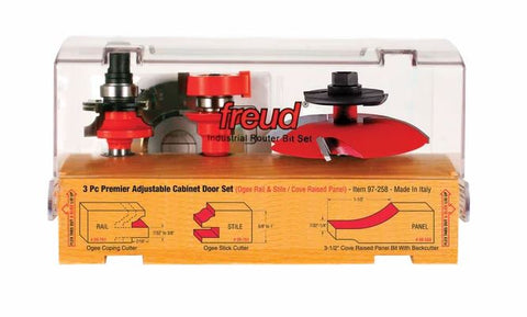 Freud 3-Pc Premier Adjustable Cabinet Bit Set