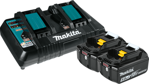 Makita 18V LXT® Lithium‑Ion Battery and Dual Port Charger Starter Pack (5.0Ah)