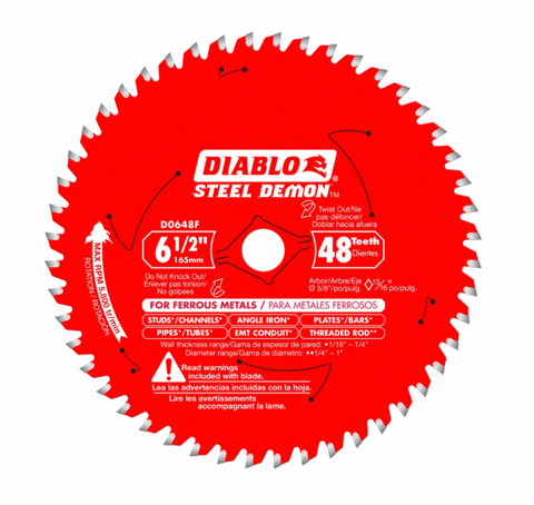 "Diablo 6-1/2"" x 48T Ferrous Metal Cutting Saw Blade"
