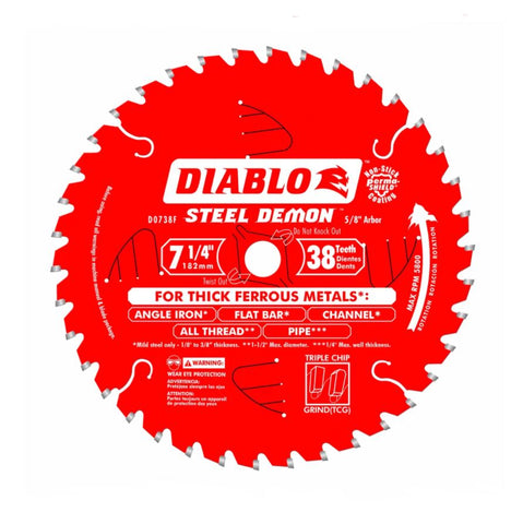 "Diablo 7-1/4"" x 38T Thick Ferrous Metal Cutting Saw Blade"