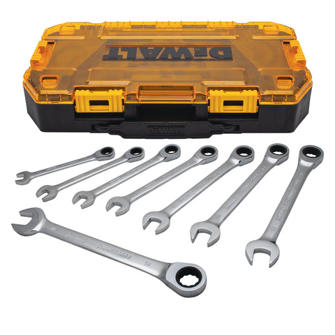 DeWalt 8 PIECE FULL POLISH RATCHETING COMBINATION WRENCH SET DWMT74733