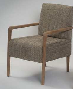5A) Upholstered Armchair - Natural Hardwood