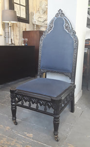 5A) Ebonised Victorian Gothic Nursing Chair / Circa1850 (SOLD)