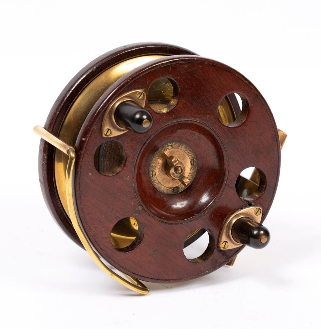 3) Antique Fishing Reel / Walnut & Brass
