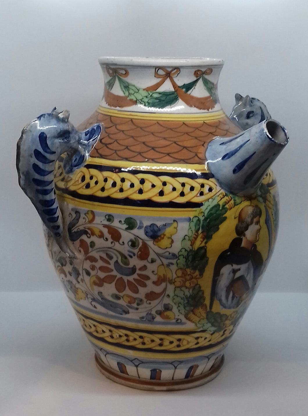 3) Italian Majolica Wet Drug Jar  / Late19th Century