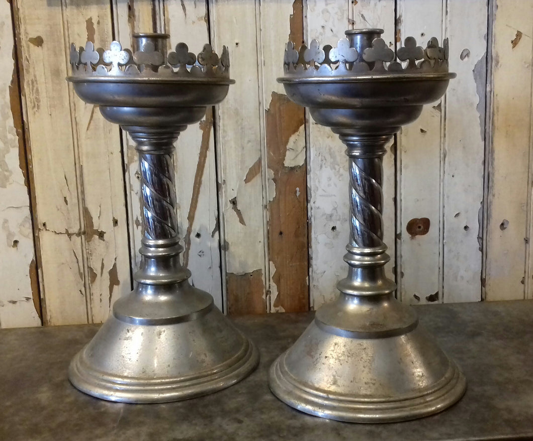 3) Victorian Gothic Metalic Candle Sticks (pair) / c 1880's