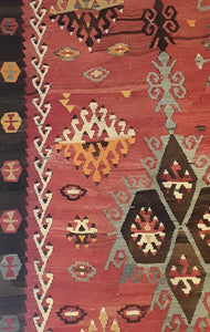 1A) Antique Sarkisla Kilim Rug / c1900's
