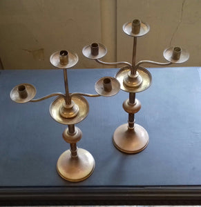 3) Pair of Brass Candlesticks / 19th Century