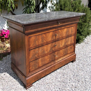 1) Louis Philippe Light Mahogany Commode / Grey Marble Top / 19th Century (SOLD)