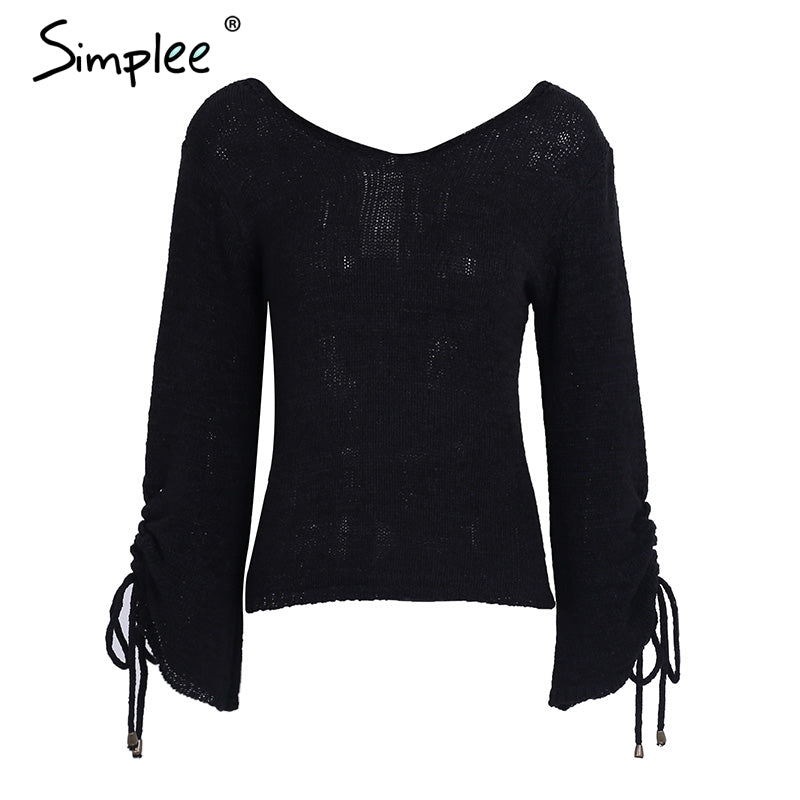 60b5b092d4 ... Simplee Lace up knitted sweater pullover Women casual loose winter sweater  jumper Female sexy v neck ...