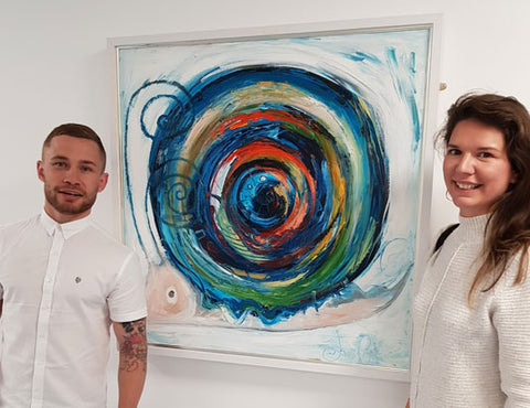 Dawn Crothers Artist with CWorld Champion boxer Carl Frampton