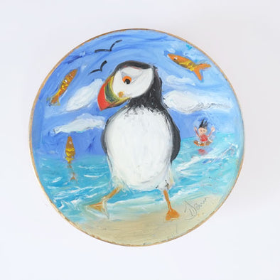 A Day at the Seaside - Original Painting on Porcelain Bowl