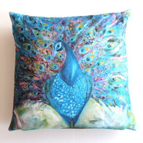 Petra the Peacock Luxury Cushion