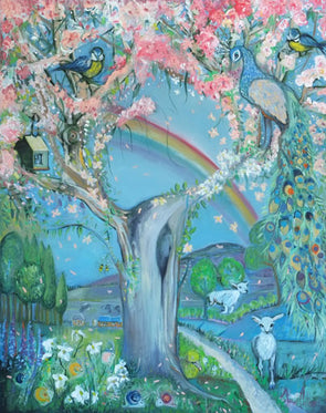 The Cherry Blossom Tree - Hand Embellished Canvas Print