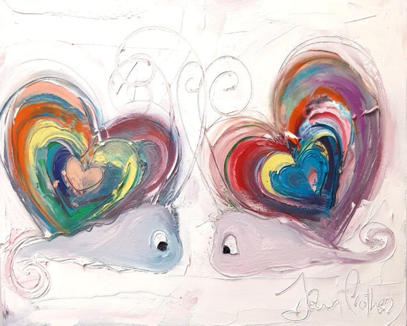 The Rainbow Love Snails - Original Painting