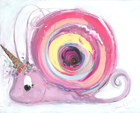 Unicorn Snail - Original Oil Painting