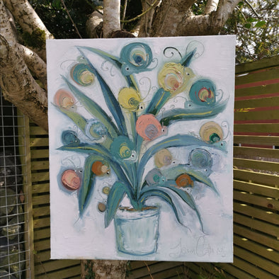 Spider Snail Plant - Original Oil Painting