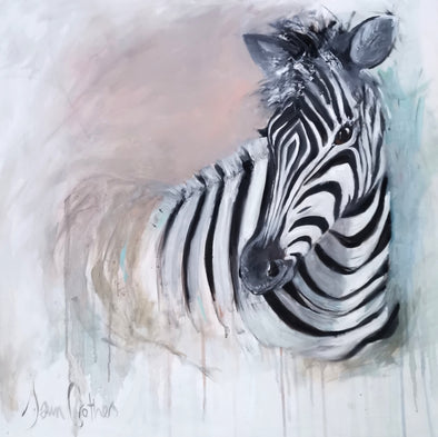 Adah the Zebra - Original Oil Painting
