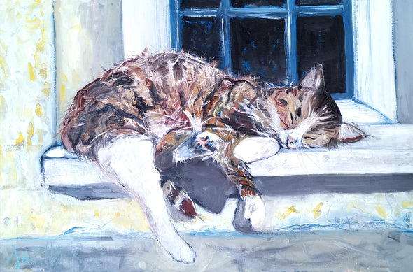 Window Cill Snooze - Original Oil Painting