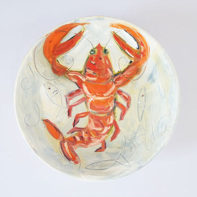 Lobster Bowl - Original Painting on Porcelain Bowl