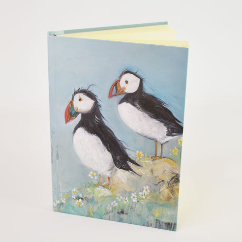 Puffins 'Love on the Rocks'' Design A5 Hardback Notebook