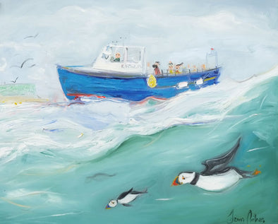 Rathlin Bird Watchers - Original Oil Painting