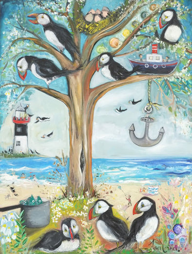 The Puffin Tree - Original Oil Painting