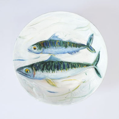Two Mackerel - Original Painting on Porcelain Bowl