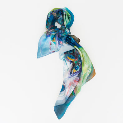 Petra the Peacock Silk Scarf