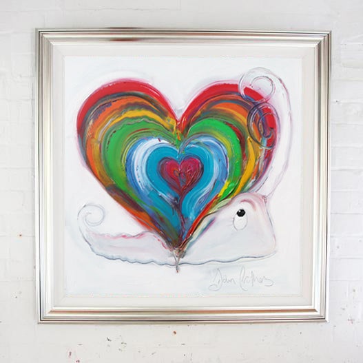 Home Is Where The Heart Is Snail - Hand Embellished Canvas Print