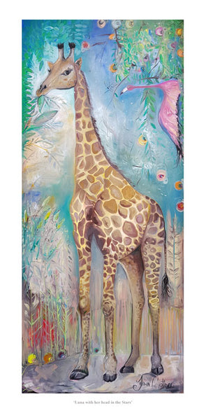 Luna the Giraffe with her Head in the Clouds - Ltd Edition Print