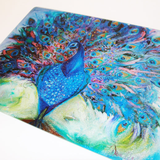 Petra the Peacock Glass Chopping Board - Homeware