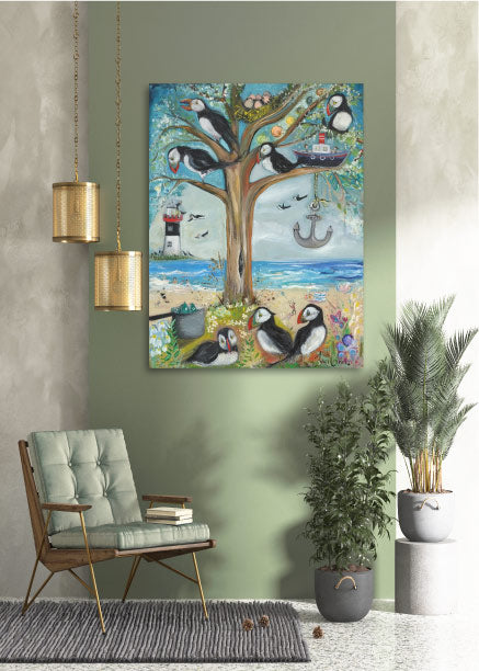 The Puffin Tree Canvas Print