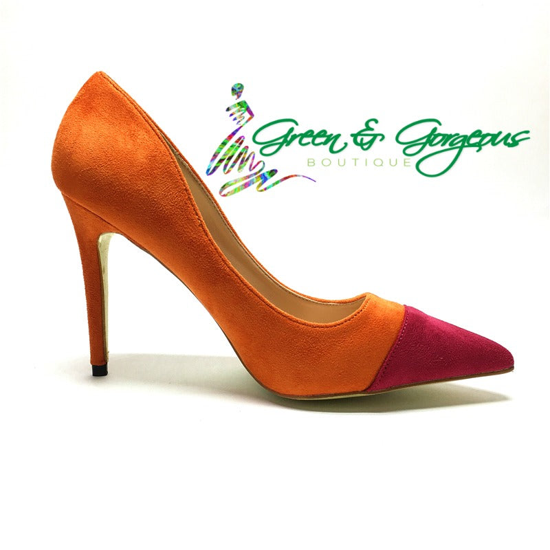 0a08f0d0e71e Orange and Pink Suede High Heels Pumps – Green   Gorgeous Boutique