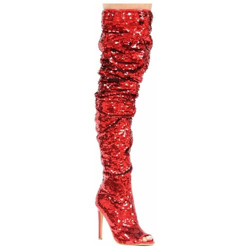 Red Sequin Sparkle Thigh High Open Toe Stiletto Heel Boot