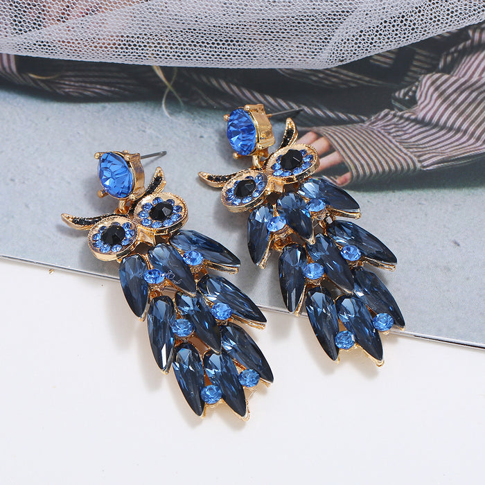 Green & Gorgeous Jewelry Collection | Blue Owl Rhinestone Luxe Earrings