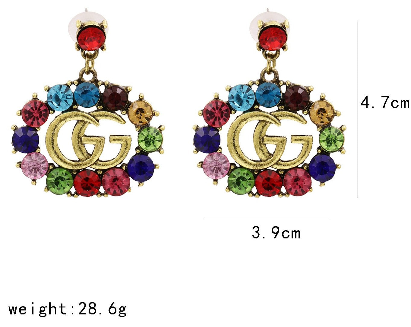 GG Rhinestone Dangle Earrings  Details