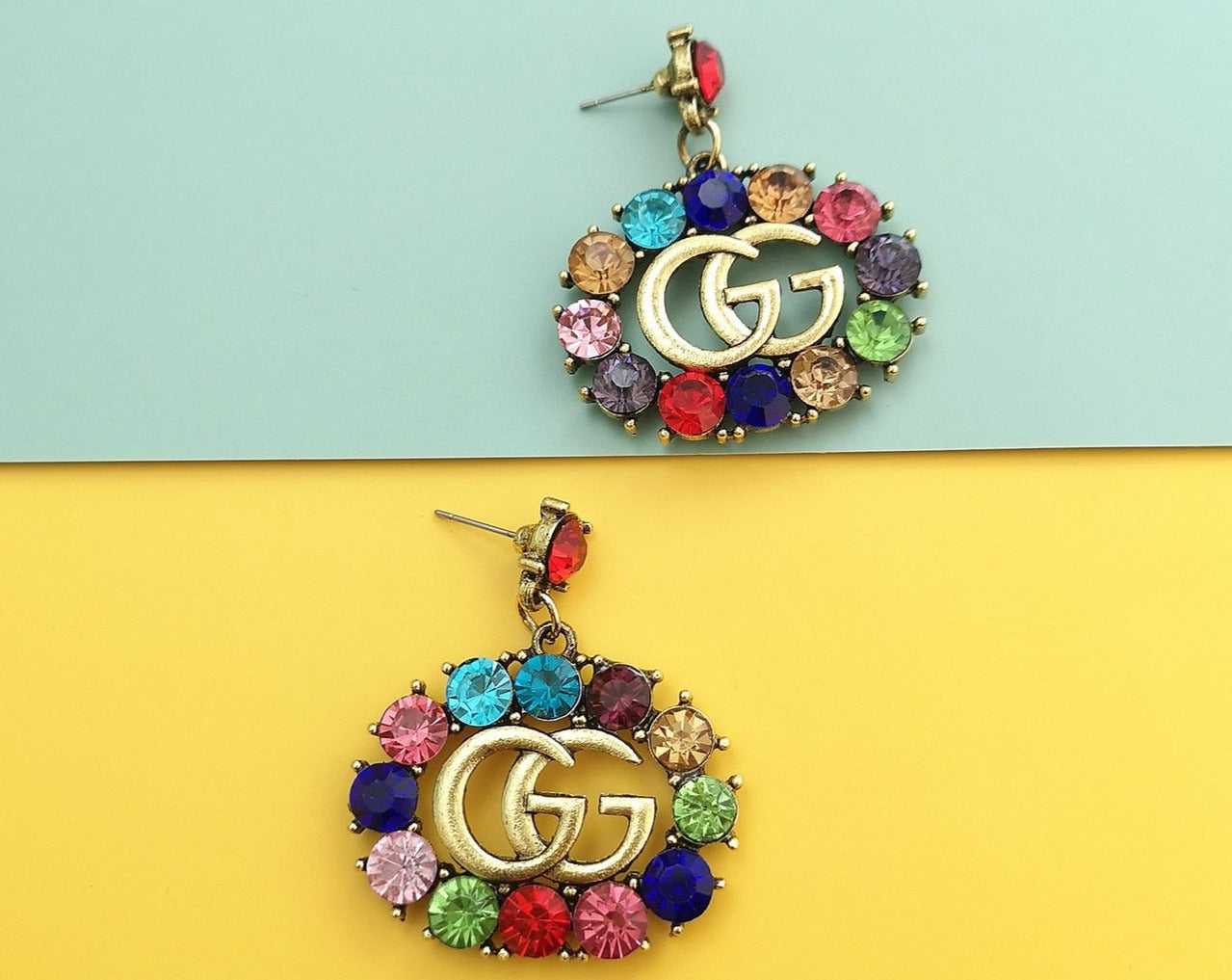 GG Rhinestone Dangle Earrings  Side
