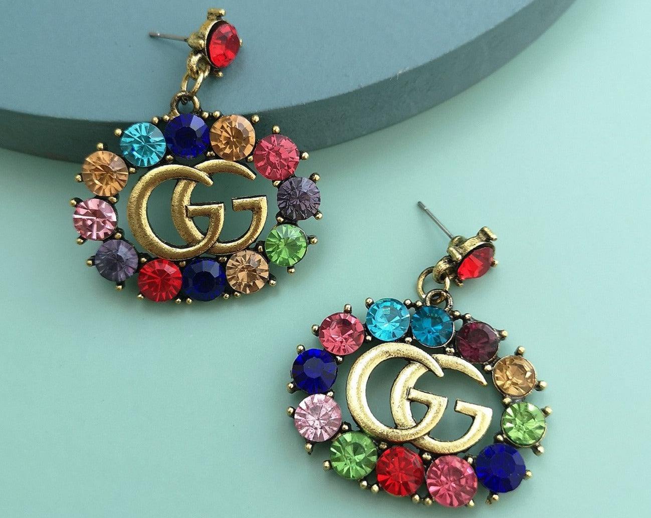 GG Rhinestone Dangle Earrings Rainbow