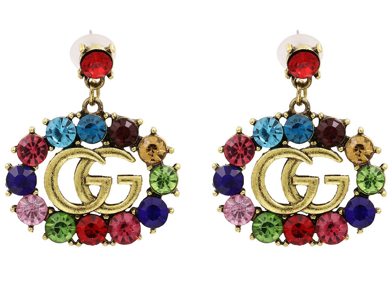 GG Rhinestone Dangle Earrings