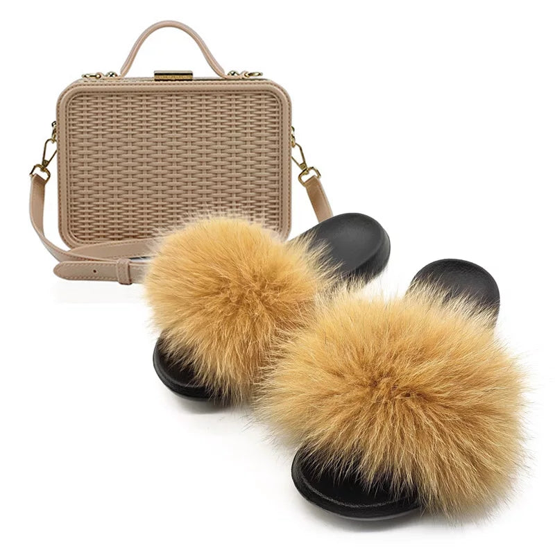 Fabulous Furry Fur Light Brown Slides