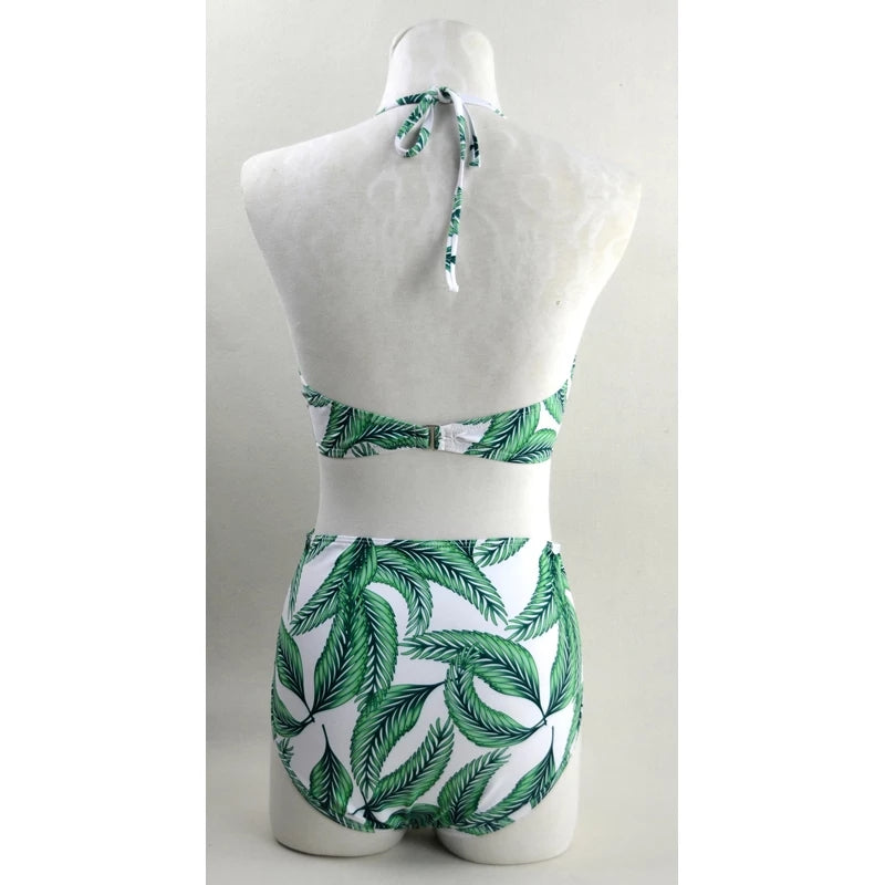 Tropical Green Leaf Printed Zipper Swimsuit - $34.95
