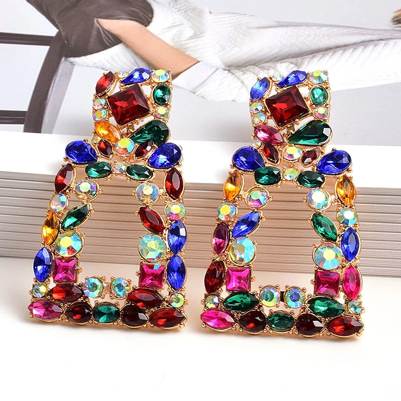 Green & Gorgeous Jewelry Collection | Rainbow Rhinestones Square Lux Earring