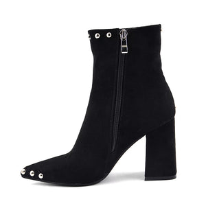 Silver-Tap Black Suede Mid-Calf Boots