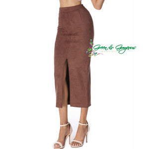 Brown Suede Pencil Skirt