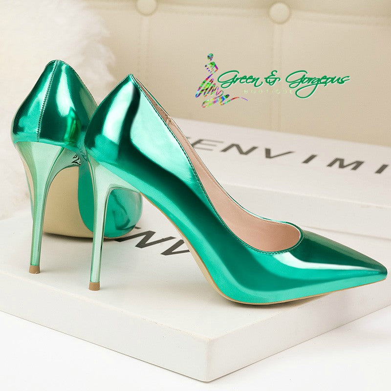 Shiny Bright Green Patent Leather Heels